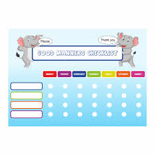 Sticker Charts For Good Behavior Good Manners Checklist Reward Charts And Stickers