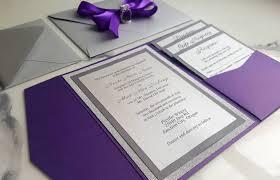 Purple Silver Wedding Invitations Metallic Pocket Fold Invites Purple Invitations Rsvp Card Insert Cards Glitter Silver Invites