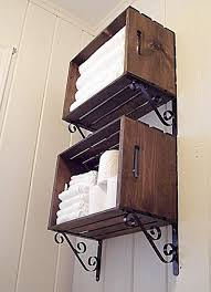 bathroom wall storage morning by morning ions just add some stylish shelf brackets to old wooden crates for extra towel storage in the bathroom