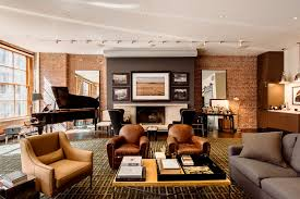 condo furniture ideas. Facebook Founder Industrial New York Modern Loft Apartment Family Room Brown Leather Sofa Ideas Condo Decorating Furniture A