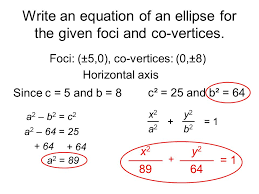 write an equation of ellipse for the given foci and co vertices ellipses date ppt