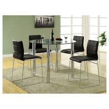 5pc Glass Top Chrome Leg Round Counter Dining Table Set Metal/Black