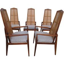 5 walnut foster and mcdavid cane back dining chairs mid century modern for at 1stdibs