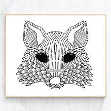 aztec fox print tribal animal wall art