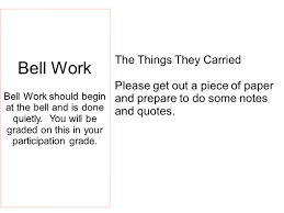 from literature to life ppt bell work the things they carried