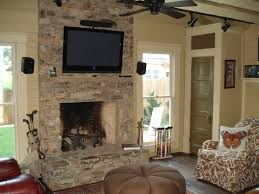 Architecture Stack Stone Wall Fireplace With Television Set Hang