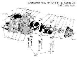 flathead parts drawings engines crankshaft and bearing assy 1948 51 truck
