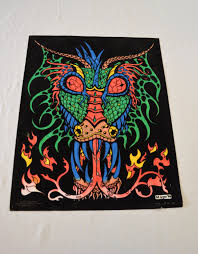 Black Light Coloring Posters Vintage Dragon Fuzzy Poster Black Light Made In Usa Western