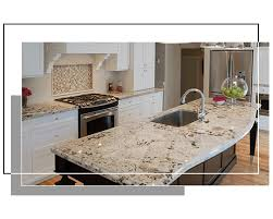 white granite countertop with white and brown cabinets