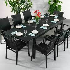 contemporary dining the metal and glass contrast on this florence black 8 seater extending dining table give it intended round glass dining table for r