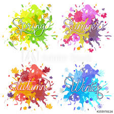 Calligraphy Backgrounds Set Of Watercolor Colorful Drops On A White Background