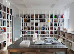 modern home office. Example Of A Minimalist Freestanding Desk Home Office Library Design In New  York With White Walls Modern