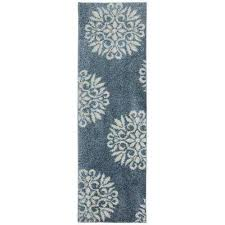 exploded medallions blue woven 2 ft x 8 ft indoor runner rug