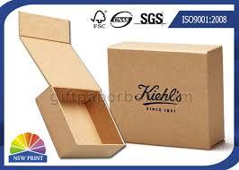 Gift Cardboard Boxes Logo Printed Brown Kraft Paper Gift Box Magnetic Closure Hinged