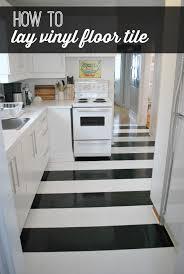 black and white striped vinyl floor tile