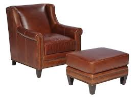 Leather Accent Chair With Ottoman Joshua Wing Back Chairs And Recliners