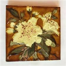 "2 Antique Oriental Lily Wade & Co Glazed 6"" Ceramic Tiles Staffordshire,  England   eBay"