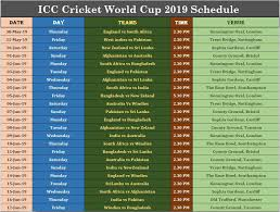 World Cup Chart Pdf Icc Cricket World Cup 2019 Schedule Pdf Download Cwc