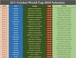 Icc Cricket World Cup 2019 Schedule Pdf Download Cwc