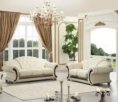 genuine leather sofa loveseat set 2pcs contemporary luxury esf apolo ivory com