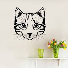 wall decal portrait of cat scratches pet silhouette animal design interior wall decals