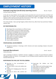 Child Caregiver Resume Care Cover Letter For Image Examples