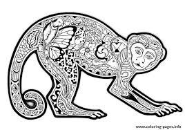 Adults Difficult Animals Cute Monkey Free Printable Coloring Pages
