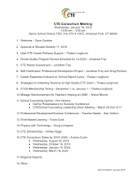 CTE Consortium Meeting - January 16, 2019