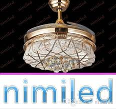2018 nimi884 42 invisible crystal chandelier ceiling fan light pendant lights living room european restaurant lamps gold sector led lighting from nimiled