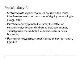 media and privacy an opinion essay ppt video online  7 vocabulary