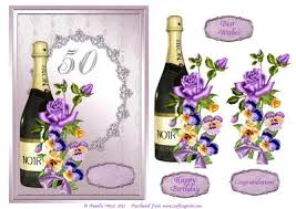 chagne and flowers 50th birthday decoupage card cup473046 117 craftsuprint