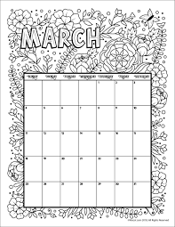 March 2018 Coloring Calendar Page Coloring Pages Calendar