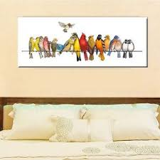 image is loading 40x100x3cm colorful birds on wire canvas prints framed  on birds on wire canvas wall art with 40x100x3cm colorful birds on wire canvas prints framed wall art home