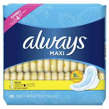 Sanitary Pad Size Chart Always Maxi Regular Pads With Wings Unscented P G