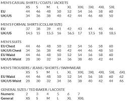 Ted Baker London Men S Size Chart Ted Baker Size Conversion Aces Charting Miss Selfridge Size