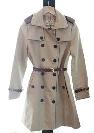 burberry brit cotton gabardine trench coat with leather trim new