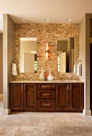 Dark bathroom vanity Dark Brown Rugged Brick Wall Behind The Counter In This Bathroom Provides Lot Of Texture Home Stratosphere 28 Gorgeous Bathrooms With Dark Cabinets lots Of Variety