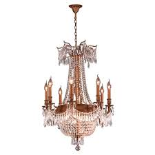 a large image of the worldwide lighting w8335624 french gold golden teak crystal