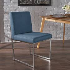 Delores Modern Fabric Dining Chair with Chrome Fished Iron Legs