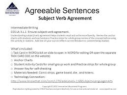 Subject And Verb Agreement Anchor Chart Agreeable Sentences Subject Verb Agreement Intermediate