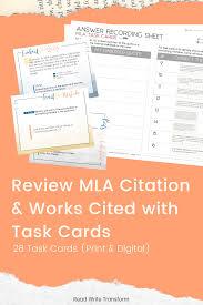 Mla Format 8th Edition Task Cards Print Digital Read Write