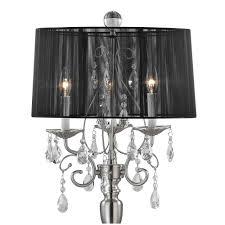 70 most prime zoom crystal chandelier floor lamp with black drum shade in satin nickel table
