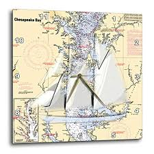 Online Chesapeake Bay Charts Buy 3drose Print Of Chart With Sailboat And Chesapeake Bay