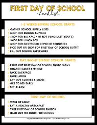 School Checklist First Day Of School Checklist Free Printable Back To School Guide