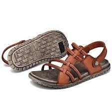men s sandals leather strap sandal open toe casual shoes outdoor beach shoe