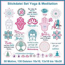 Stickdateien Set Yoga Meditation Und Esoterik Sprüche Und Symbole