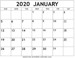 Printable 2020 January Calendar Free Printable Calendar Com