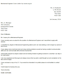 Mechanical Engineer Cover Letter Example Icover Org Uk