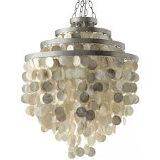 quick view round chandelier with round capiz champagne