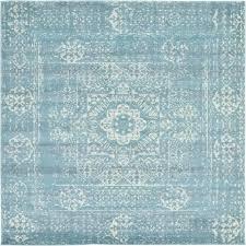 unique loom tradition light blue 8 4 x 8 4 square rug